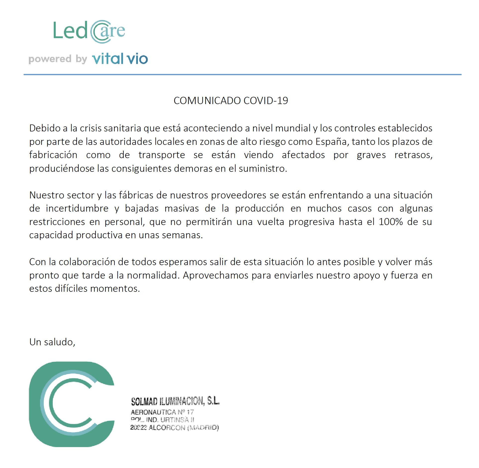 COMUNICADO ANTE COVID-19